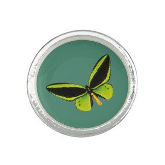 Green longwing butterfly design rings