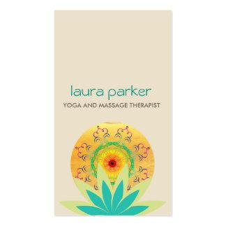 Green Lotus Flower Logo Yoga Damask Healing Health Business Card
