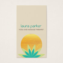 Green Lotus Flower Logo Yoga Healing Health Business Card