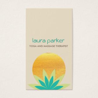 Green Lotus Flower Logo Yoga Healing Health Business Card