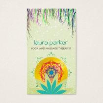 Green Lotus Flower Mandala Logo Yoga Healing Business Card