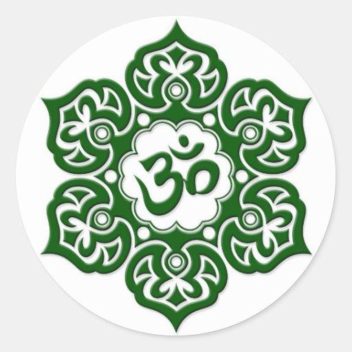 Green Lotus Flower Om On White Classic Round Sticker Zazzle