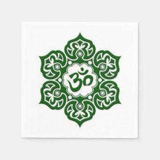 Green Lotus Flower Om on White Paper Napkins
