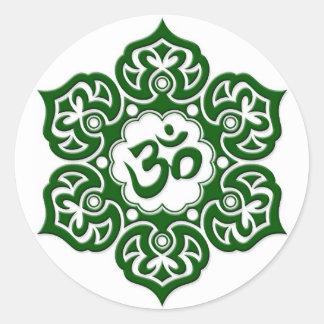 Green Lotus Flower Om on White Classic Round Sticker