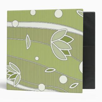 Green Lotus Flowers on Olive Stripes Binder