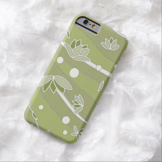 Green Lotus Flowers on Olive Stripes Barely There iPhone 6 Case