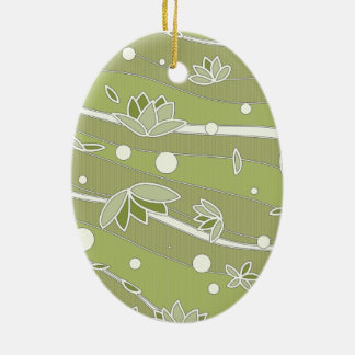 Green Lotus Flowers on Olive Stripes Ceramic Ornament
