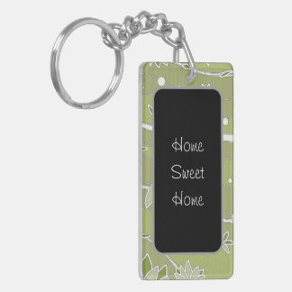 Green Lotus Flowers on Olive Stripes Keychain