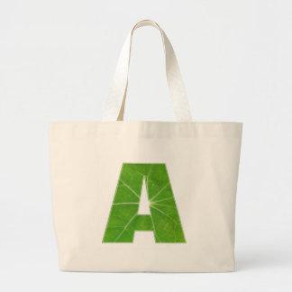 Green Lotus Leaf n Sparkle AAA Fine Alphabet Jumbo Tote Bag