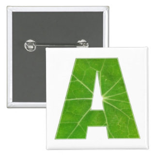 Green Lotus Leaf n Sparkle AAA Fine Alphabet 2 Inch Square Button
