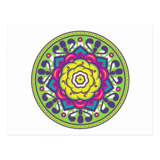 Green Lotus Mandala Postcard
