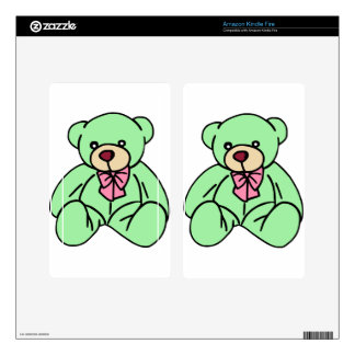Green Lovable Teddy Bear Kindle Fire Decals