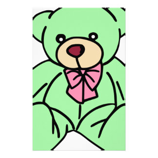 Green Lovable Teddy Bear Stationery