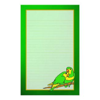 Green Love Birds Emerald Fine Lined Stationery