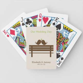 Green Love Birds on Park Bench Bicycle Playing Cards