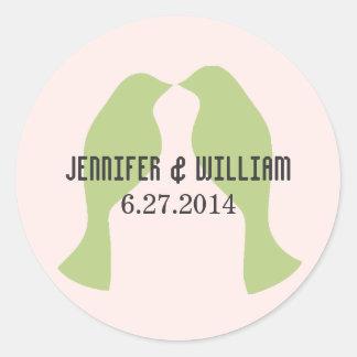 Green Love Birds Wedding Envelope Seal Round Sticker