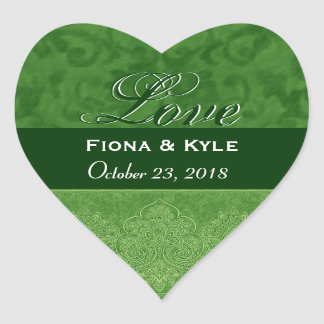 Green Love Bride and Groom Date Heart Sticker