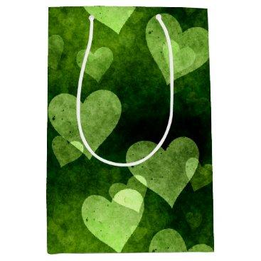 Green Love Heart Shape Medium Gift Bag