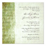 Green Love is Patient Vintage Wedding Invitation