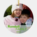 Green love joy peace sign custom photo family name christmas tree ornament