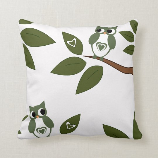Green Love Owl In Tree Throw Pillow
