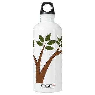 Green Love Owl In Tree Water Bottle