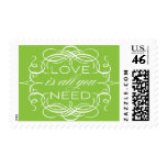 Green Love Postage Calligraphy