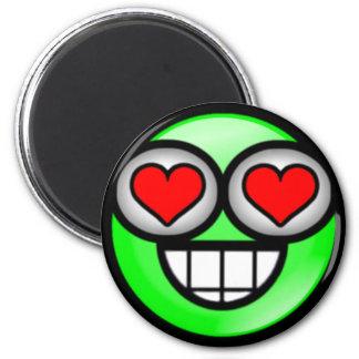 Green Love Smiley Magnet