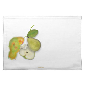 Green lovebird, parrot with to pear placemat