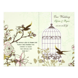 green lovebirds  bircage bi fold Wedding program
