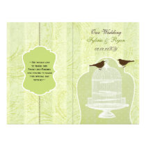 green lovebirds  bircage bi fold Wedding program