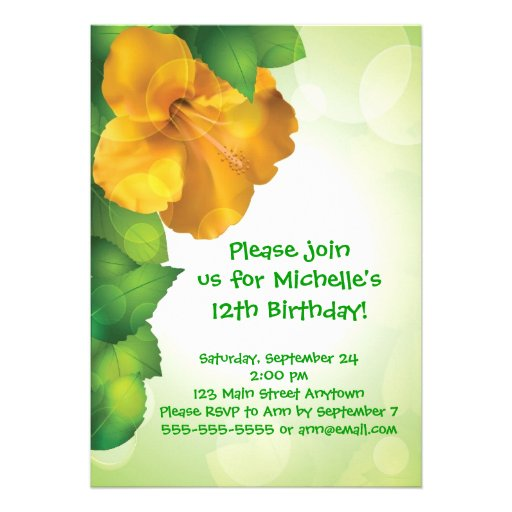 Green Luau Hibiscus Hawaii Invitations