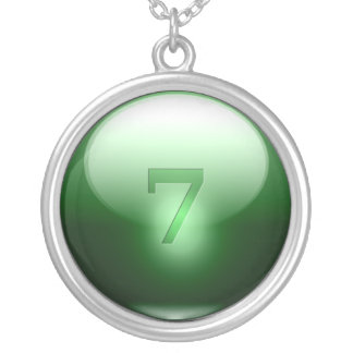 Green Lucky 7 Silver Plated Necklace