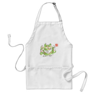 Green Lucky Cat Adult Apron