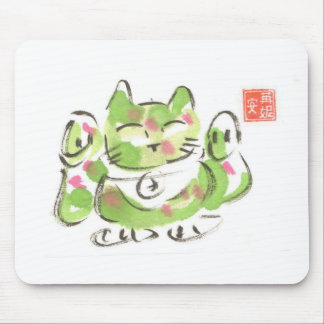 Green Lucky Cat Mouse Pad