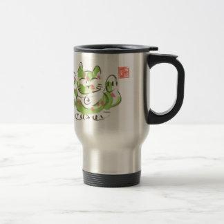 Green Lucky Cat Travel Mug