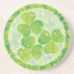 Green lucky charm clover shamrock drink coaster