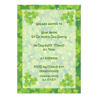 Green lucky charm clover shamrock invitatiom personalized invitation
