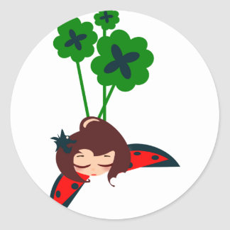 green lucky classic round sticker