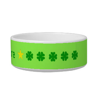 Green lucky four-leaf clover personalized bowl