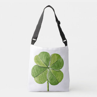 Green lucky Four-leaf clover Shamrock hand painted Crossbody Bag