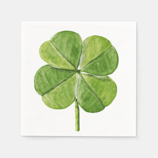 Green lucky Four-leaf clover Shamrock hand painted Napkin