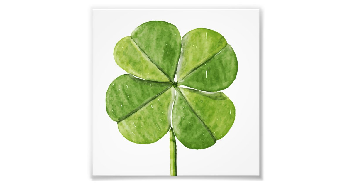 Green Lucky Four Leaf Clover Shamrock Hand Painted Photo Print