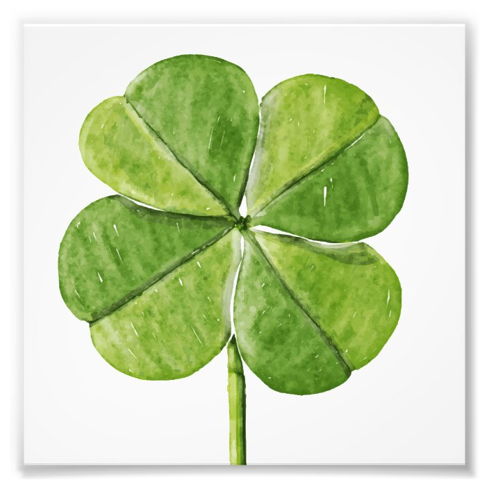 Green Lucky Four Leaf Clover Shamrock Hand Painted Photo Print Zazzle Com