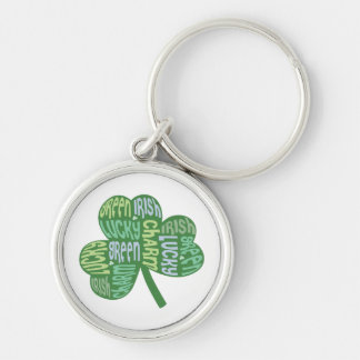 Green Lucky Irish Charm Shamrock Silver-Colored Round Keychain