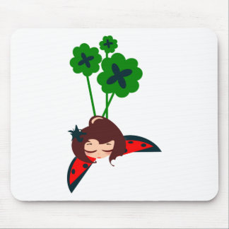 green lucky mouse pad