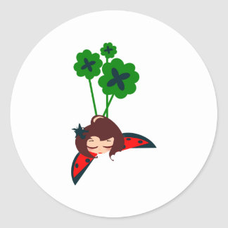 green lucky round stickers
