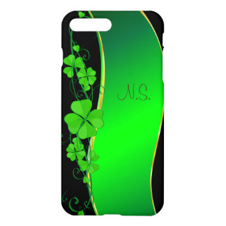 Green Lucky Shamrock  faux glitter wave iPhone 7 Plus Case