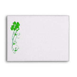 Green Lucky Shamrock  Personalized Envelopes