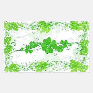 Green Lucky Shamrock Rectangular Sticker